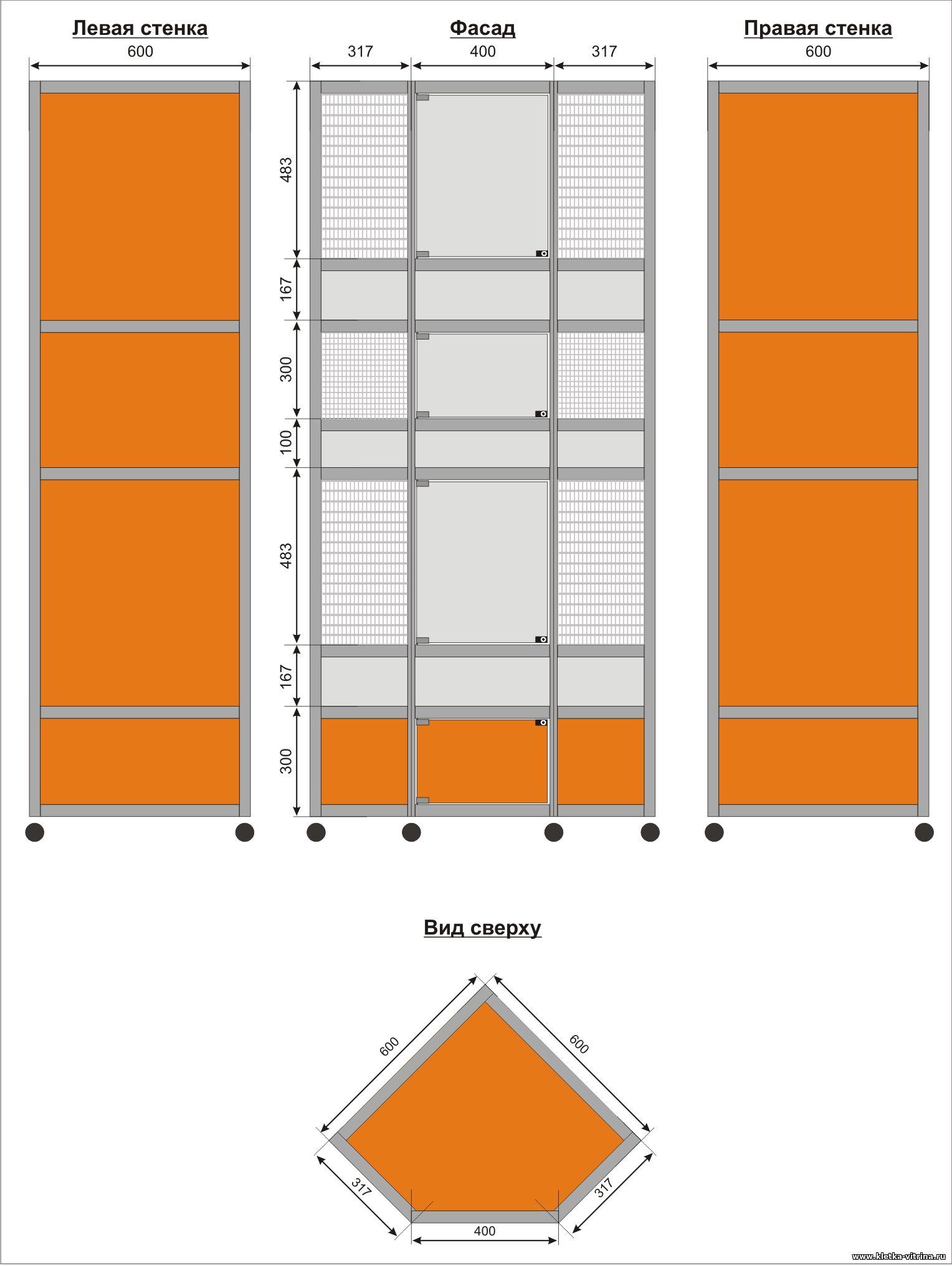 Трехэтажные клетки - витрины для шиншилл, дегу